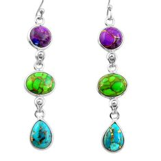 15.34cts multi color copper turquoise 925 sterling silver dangle earrings r26803