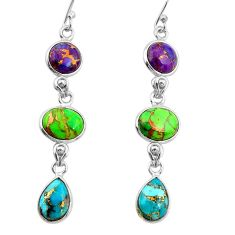 14.59cts multi color copper turquoise 925 sterling silver dangle earrings r26805