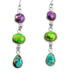 15.89cts multi color copper turquoise 925 sterling silver dangle earrings r26806