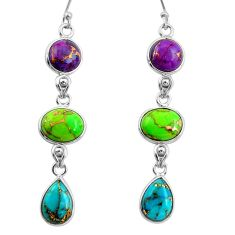 14.56cts multi color copper turquoise 925 sterling silver dangle earrings r26808