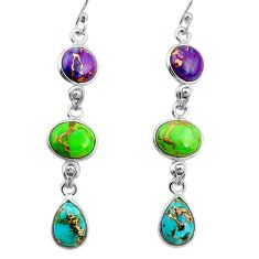 14.18cts multi color copper turquoise 925 sterling silver dangle earrings r26813