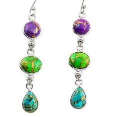15.89cts multi color copper turquoise 925 sterling silver dangle earrings r27005