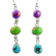 14.67cts multi color copper turquoise 925 sterling silver dangle earrings r41136