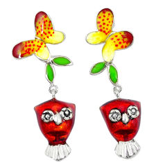 Multi color enamel 925 sterling silver butterfly earrings jewelry c16543