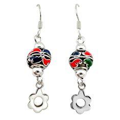 Multi color enamel 925 sterling silver dangle ball earrings jewelry c22418