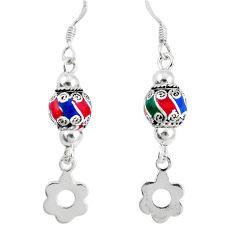 3.26gms multi color enamel 925 sterling silver dangle earrings a92918 c24991