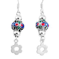4.87gms multi color enamel 925 sterling silver dangle earrings a92919 c24995