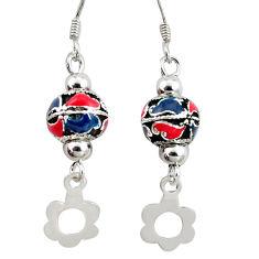 5.89gms multi color enamel 925 sterling silver dangle earrings a94615 c24994