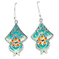 Multi color enamel 925 sterling silver dangle earrings jewelry c18981