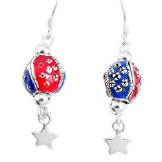 7.48gms multi color enamel 925 sterling silver dangle earrings jewelry c20221