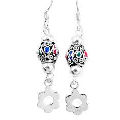 3.26gms multi color enamel 925 sterling silver dangle earrings jewelry c20222