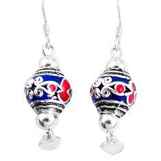 9.69gms multi color enamel 925 sterling silver dangle earrings jewelry c20223