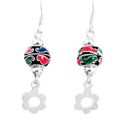 5.02gms multi color enamel 925 sterling silver dangle earrings jewelry c20227