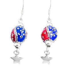 7.89gms multi color enamel 925 sterling silver dangle earrings jewelry c20229
