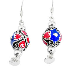 7.69gms multi color enamel 925 sterling silver dangle earrings jewelry c20230