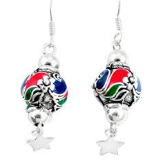 9.26gms multi color enamel 925 sterling silver dangle earrings jewelry c20233