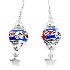 9.47gms multi color enamel 925 sterling silver dangle earrings jewelry c20234