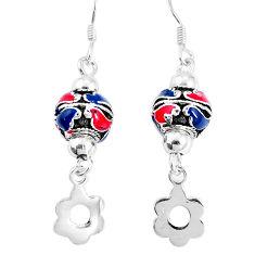 5.69gms multi color enamel 925 sterling silver dangle earrings jewelry c20238
