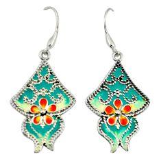 Multi color enamel 925 sterling silver dangle earrings jewelry c26101