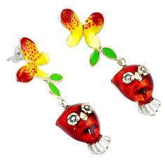 Multi color enamel 925 sterling silver earrings butterfly jewelry c19862