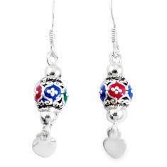 3.47gms multi color enamel 925 sterling silver earrings jewelry c20242