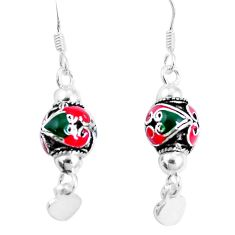 3.69gms multi color enamel 925 sterling silver earrings jewelry c20252