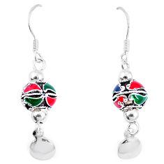 5.69gms multi color enamel 925 sterling silver earrings jewelry c20253