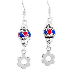 3.26gms multi color enamel 925 sterling silver earrings jewelry c20256