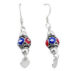 Multi color enamel indonesian bali style solid 925 silver ball earrings c23030