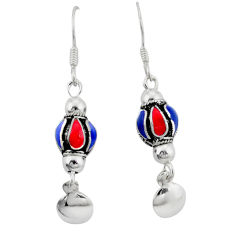 Multi color enamel indonesian bali style solid 925 silver ball earrings c23049