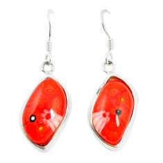Multi color italian murano glass 925 silver dangle earrings c21762