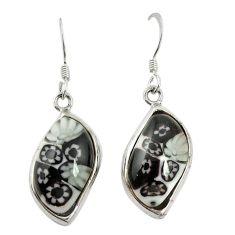 Multi color italian murano glass 925 silver dangle earrings c21776