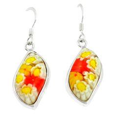 Multi color italian murano glass 925 silver dangle earrings c21778