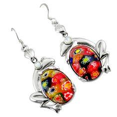 Multi color italian murano glass pearl 925 silver frog earrings c22381
