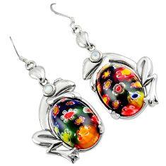 Multi color italian murano glass pearl 925 sterling silver frog earrings c22383