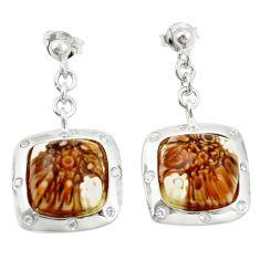 Multi color italian murano glass topaz 925 silver dangle earrings c21769