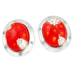 Multi color italian murano glass topaz 925 silver stud earrings c21763