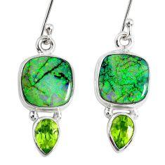 8.44cts multi color opal peridot 925 sterling silver dangle earrings r62881