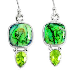 8.30cts multi color opal peridot 925 sterling silver dangle earrings r62883