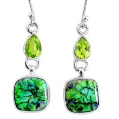 8.75cts multi color opal peridot 925 sterling silver dangle earrings r62885