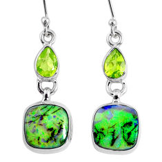 9.05cts multi color opal peridot 925 sterling silver dangle earrings r62887
