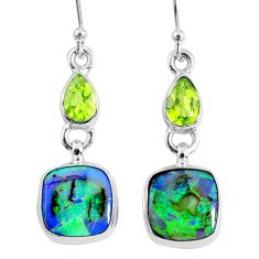 8.75cts multi color opal peridot 925 sterling silver dangle earrings r62888