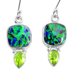 8.75cts multi color opal peridot 925 sterling silver dangle earrings r62890