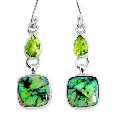 9.05cts multi color opal peridot 925 sterling silver dangle earrings r62897