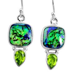 8.44cts multi color opal peridot 925 sterling silver dangle earrings r62905