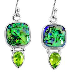 8.44cts multi color opal peridot 925 sterling silver dangle earrings r62906