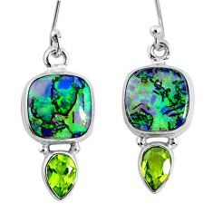 8.33cts multi color opal peridot 925 sterling silver dangle earrings r62911