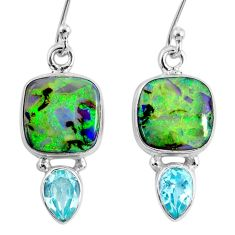 8.33cts multi color opal topaz 925 sterling silver dangle earrings r62908