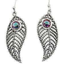 1.69cts multi color rainbow topaz 925 silver deltoid leaf earrings d40153