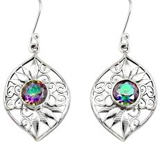 Clearance Sale- 5.12cts multi color rainbow topaz 925 sterling silver dangle earrings d40091